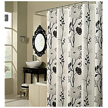 Delicieux Black And White Flower Fabric Shower Curtain