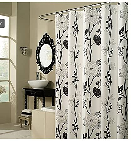 Amazoncom Black And White Flower Fabric Shower Curtain Home Kitchen