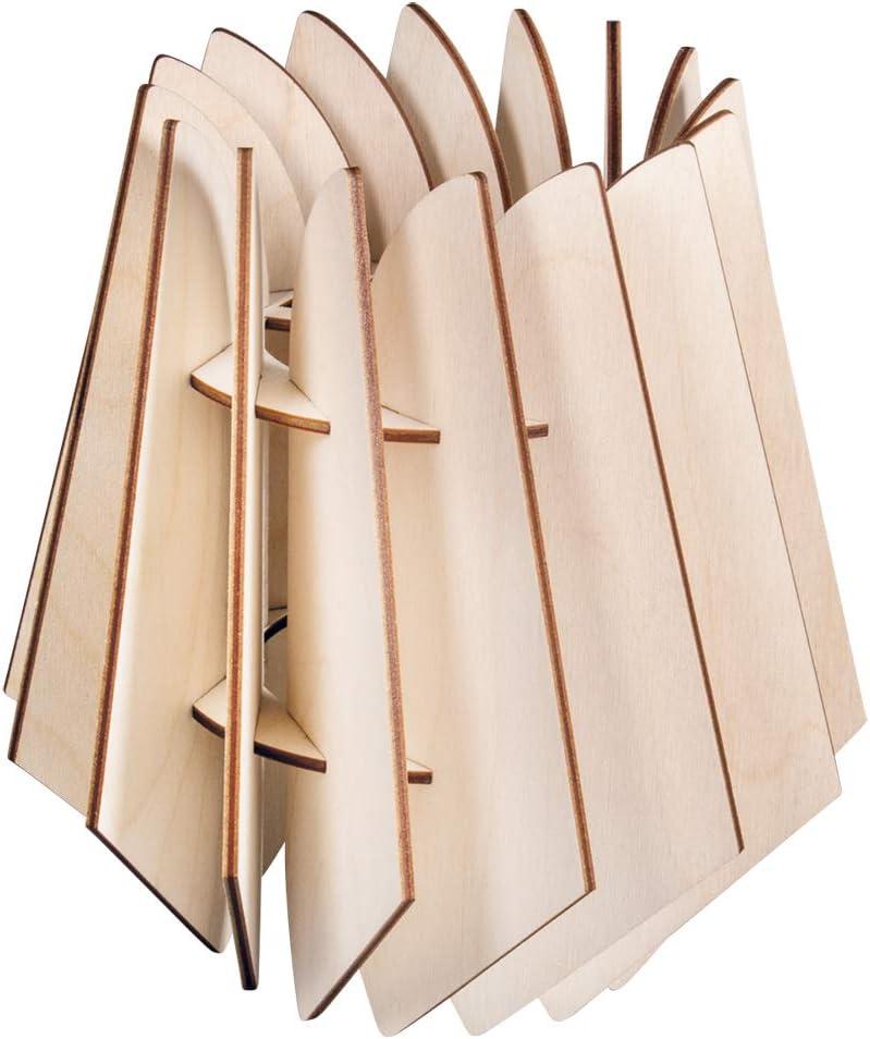 Rayher Lampe à lamelles bois Stockholm,FSCMixCr, Nature, 24x24x35cm, 22pces, boîte 1kit