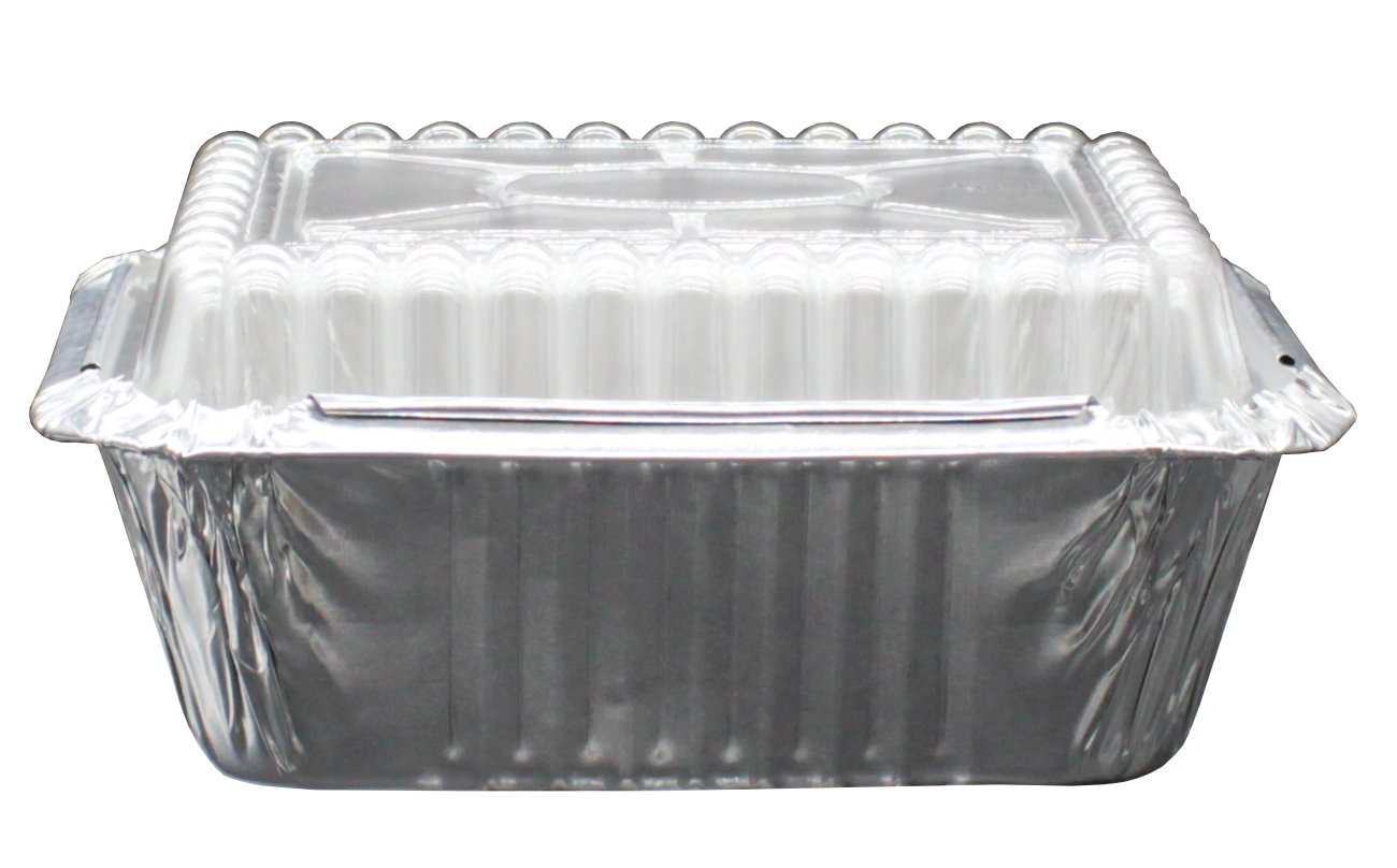 """100 Pack of Disposable Takeout Pans with Clear Lids – 1 Lb Capacity Aluminum Foil Food Containers – Strong Seal for Freshness – Eco-Friendly and Recyclable – 5x4"""" Inch Drip Pans - By MontoPack by MontoPack (Image #5)"""