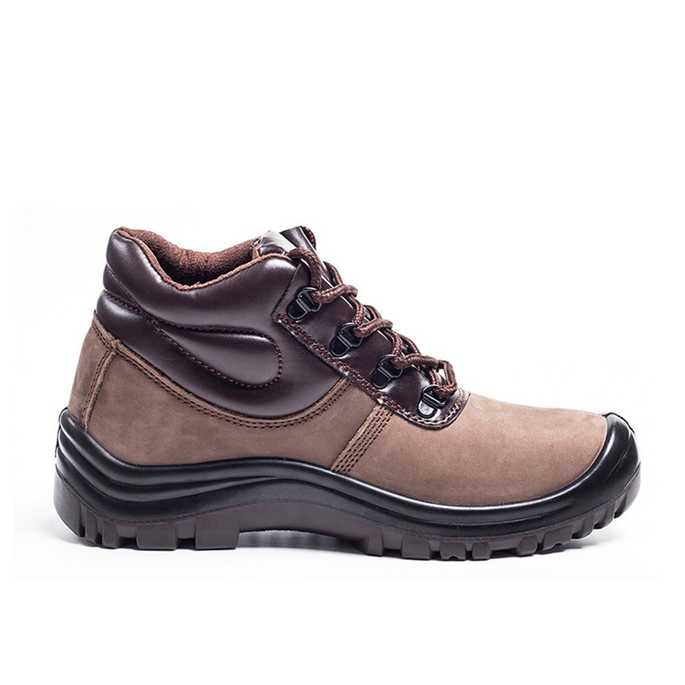 durable leather plastic steel toe work shoes puncture proof Kevlar shoe soles outdoor hiking safety shoes (4, 10 brown)
