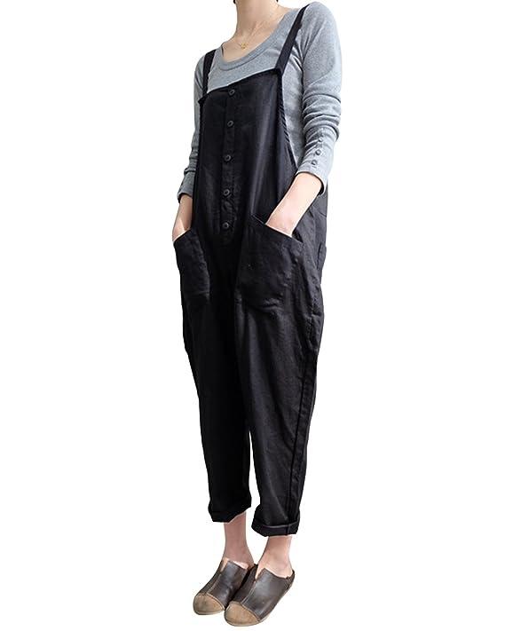 fc5fdfc43c Amazon.com  LVCBL Womens Loose Bib Baggy Overalls Long Suspender Jumpsuit  Romper Pants 8 Colors S-5XL  Clothing