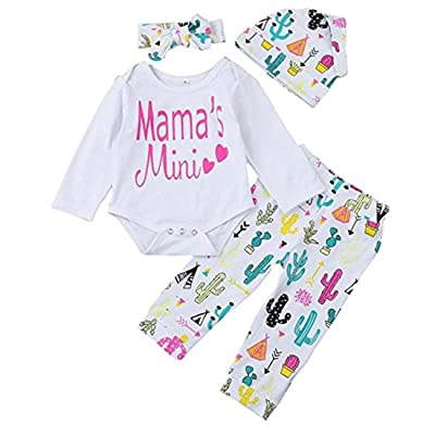 REWANGOING 4PCS Baby Toddler Girls Cactus Print Long Sleeve Romper+Flower Pant+Hat+Headband Outfits