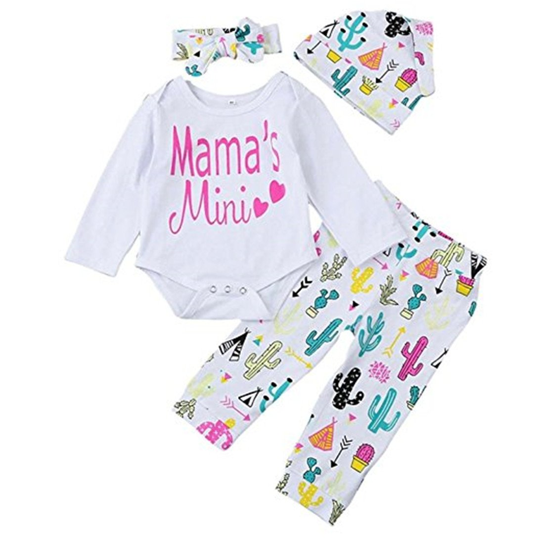 c1c42ac41467 Amazon.com  REWANGOING 4PCS Baby Toddler Girls Cactus Print Long Sleeve  Romper+Flower Pant+Hat+Headband Outfits  Clothing