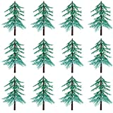 Large Evergreen Trees for Cake and Cupcake Decorating Pick 4.7 Inches Tall (12-Pack)