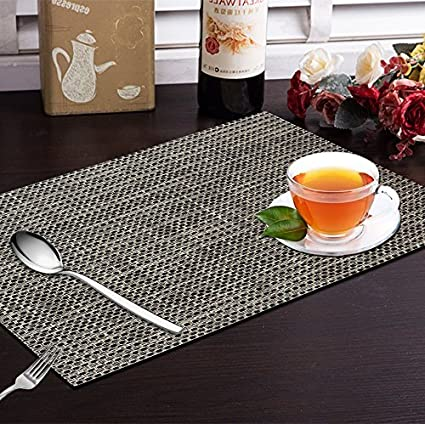 Yellow Weaves 6 Piece Dining Table Placemats / Table Mats   Black Grey