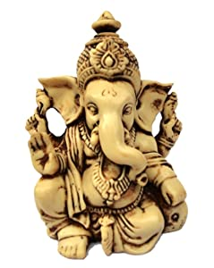 "3.5"" Lord Ganesh / Ganesha Statue Sculpted in Great Detail with Antique Finish – Ganesh Idol for Car / Home Decor / Mandir / Gift. Hindu God Idol."