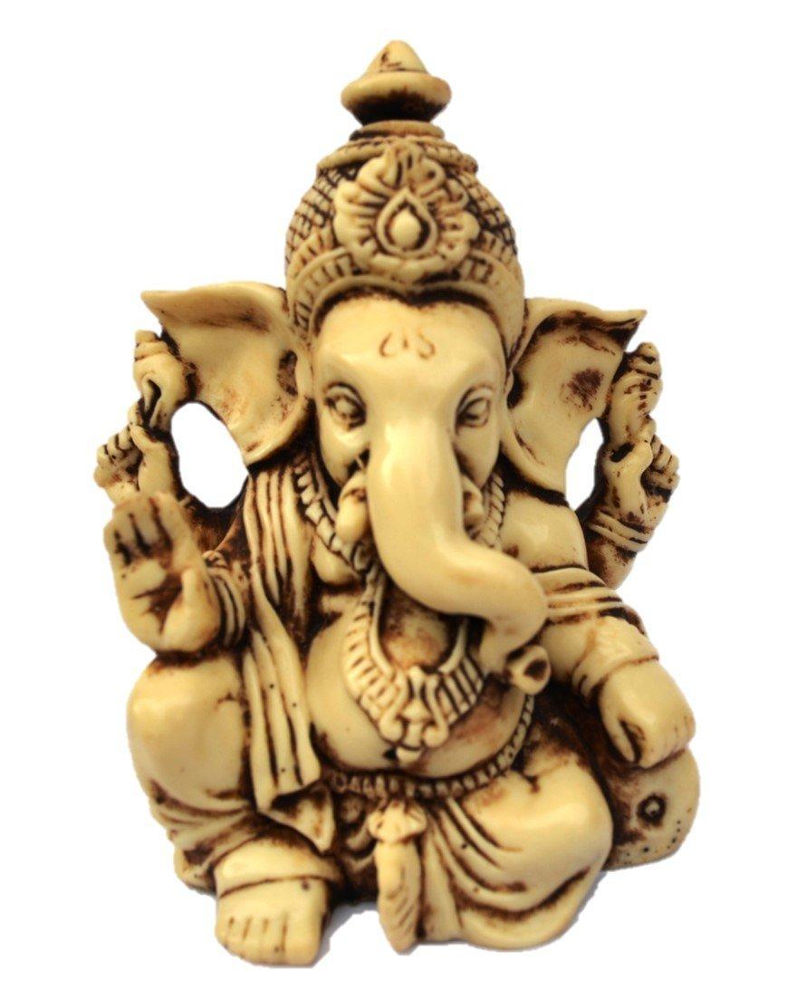 "3.5"" Lord Ganesh / Ganesha Statue Sculpted in Great Detail with Antique Finish – Ganesh Idol for Car / Home Decor / Mandir / Gift. Hindu God Idol."
