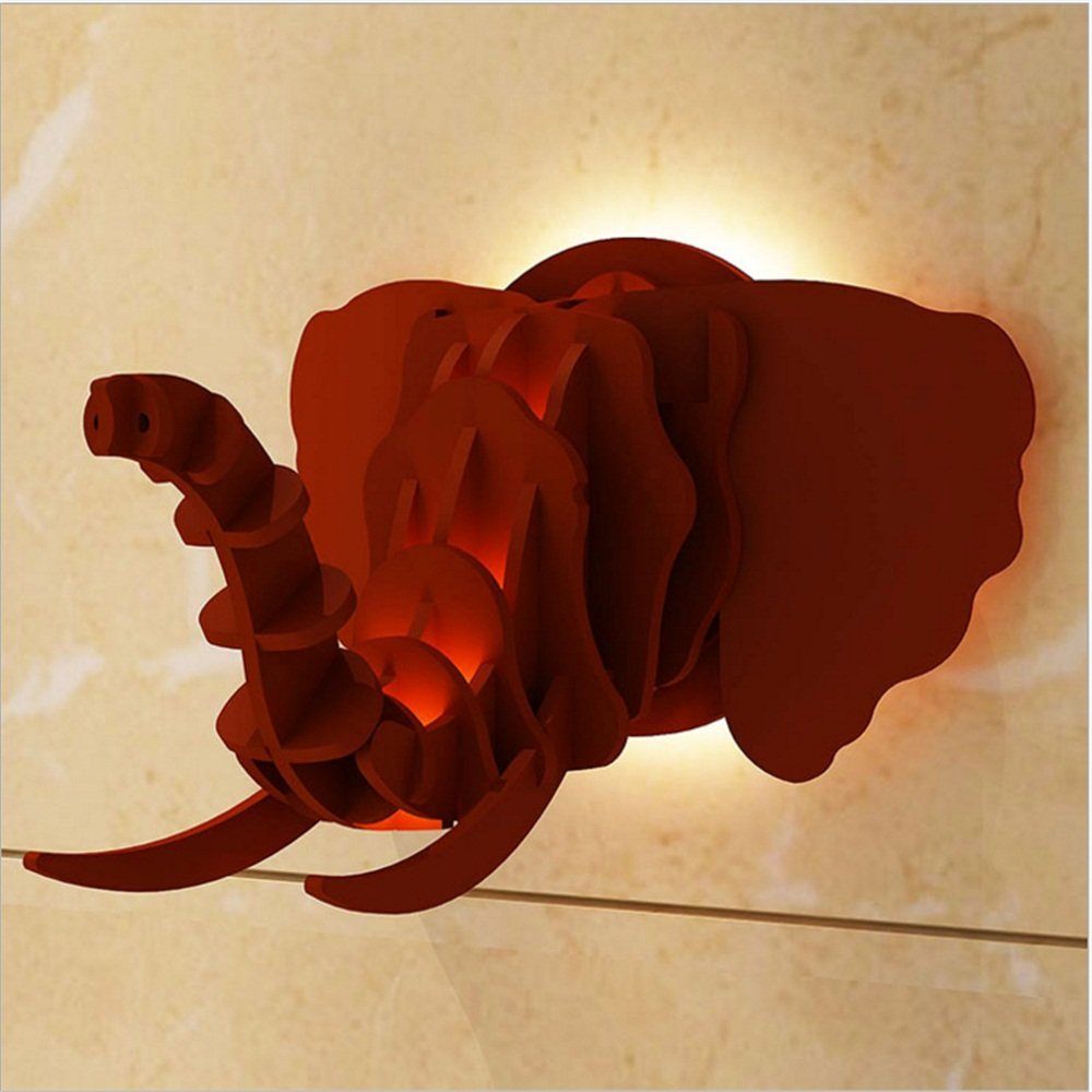 Wooden Elephant Decorative Wall Light Creative Animal Decorative Artwork Living Room Bedroom TV Wall Wall Decorative Wall Light 43 45 30CM ( Color : Red )