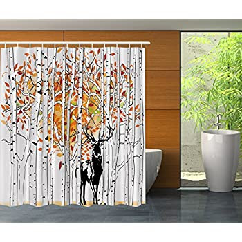 Deer Decor Shower Curtain Set By Ambesonne, Deer In Forest Autumn Golden  Colors Trees Foliage