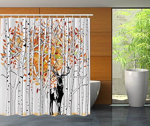 Ambesonne Deer Decor Shower Curtain Set by, Deer in Forest A
