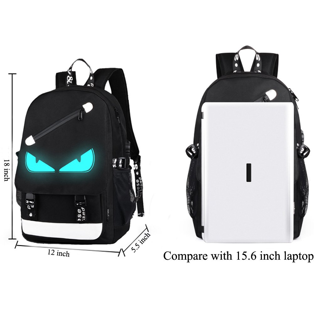 Anime Backpack Luminous Backpack Men School Bags Boys Girls Cartoon Bookbag Noctilucent USB Chargeing port&anti-theft Daybag Women (Evil eye) by VAQM (Image #5)