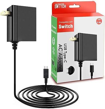 Adaptador de CA para Nintendo Switch – Cargador de Nintendo Switch con cable de alimentación de 5 pies, cargador de pared portátil con tipo C 15 V 2,6 A de carga rápida: Amazon.es: Belleza
