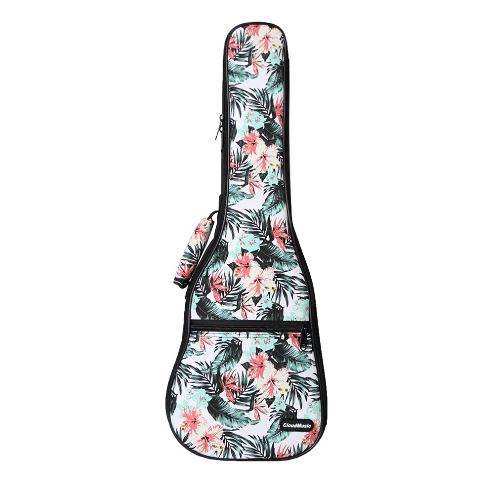 CLOUDMUSIC Hawaii Floral Ukulele Case 10mm Padded Ukulele Backpack (Concert, Hawaii Hibiscus and Palm)