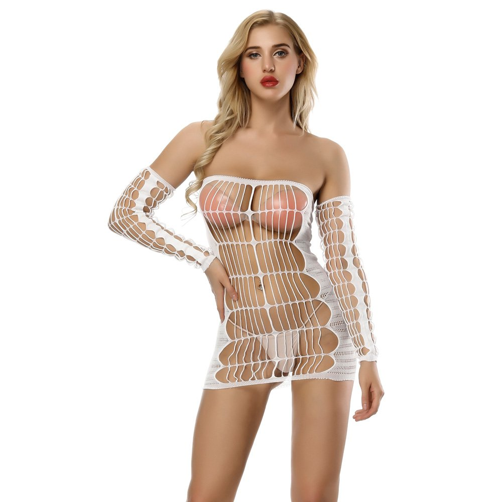 db277115ce5 Deksias Fishnet Bodystocking Sexy Costumes Womens Mesh Chemise Dress ...