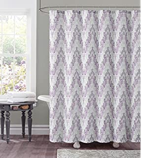 Dobby Fabric Shower Curtain Chevron Tile Design 72 X Purple