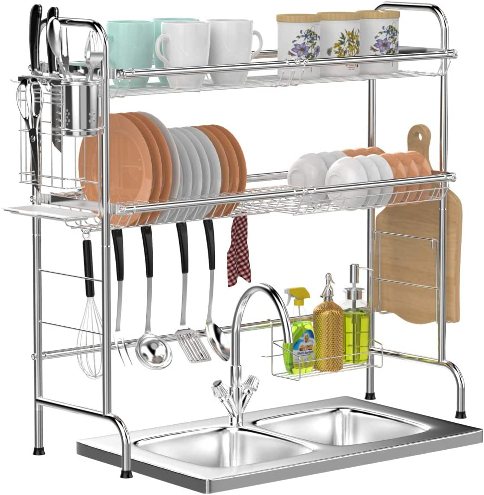 Over Sink Dish Drying Rack, GSlife 2 Tier Stainless Steel Dish Rack With Utensil Holder Hooks Stable Non-Slip Bend Foot for Kitchen Counter Sink, Silver