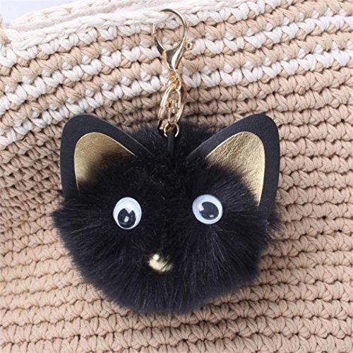 ADESHOP Niedliche Katze Kaninchen Pelz Ball Fox Schlüsselanhänger Tasche Plüsch Auto Schlüsselring Auto Schlüssel Anhänger (E) B