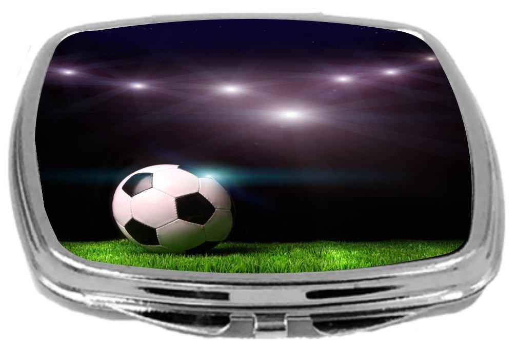 Soccer Ball On Black Background Rikki Knight Compact Mirror