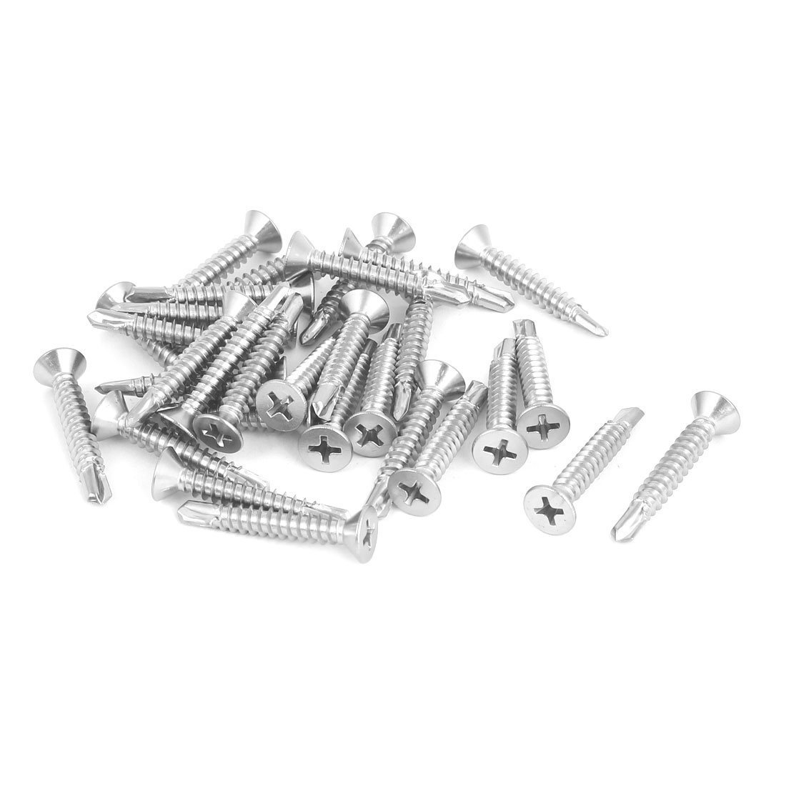Uxcell a16062700ux0507 M4.8 x 32mm 410 Stainless Steel Countersunk Head Self Drilling Screws