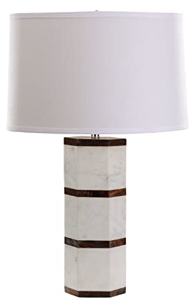 White Marble And Wood Hexagon Led Table Lamp Amazon Com