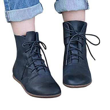 a0b51bdcd3 Amazon.com  Womens Lace-up Ankle Boots Low Heel Pointed Toe Soft Faux  Leather Vintage Flat Booties Shoes  Clothing