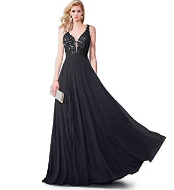 SUMINTRAS Gorgeous Sheeri Illusion V-Neck Lace-Applique Open V-Back Formal Evening