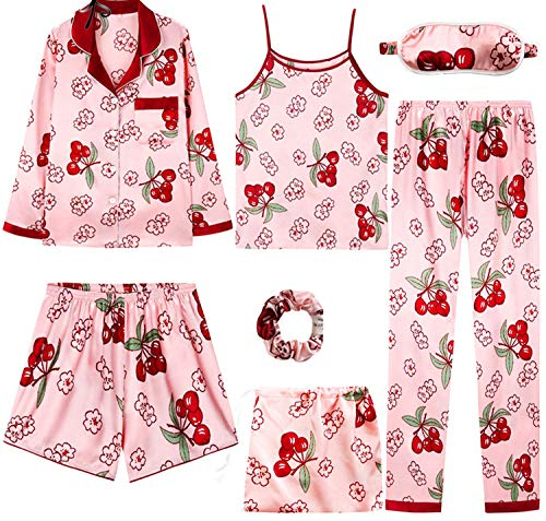 Sisilya-sleepwear Pyjamas Women's 7 Pieces Pink Pajamas Sets Satin Silk Lingerie Homewear,Cherry,XL -