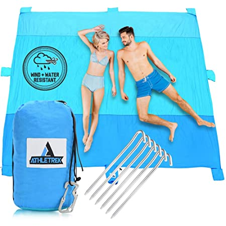 Extra Large Beach Blanket by Athletrek Durable Sand Proof Water Resistant Beach Mat Lightweight Quickdry 210T Ripstop Nylon 10 x 9 Outdoor Blanket for Picnics Travel Sports Camping