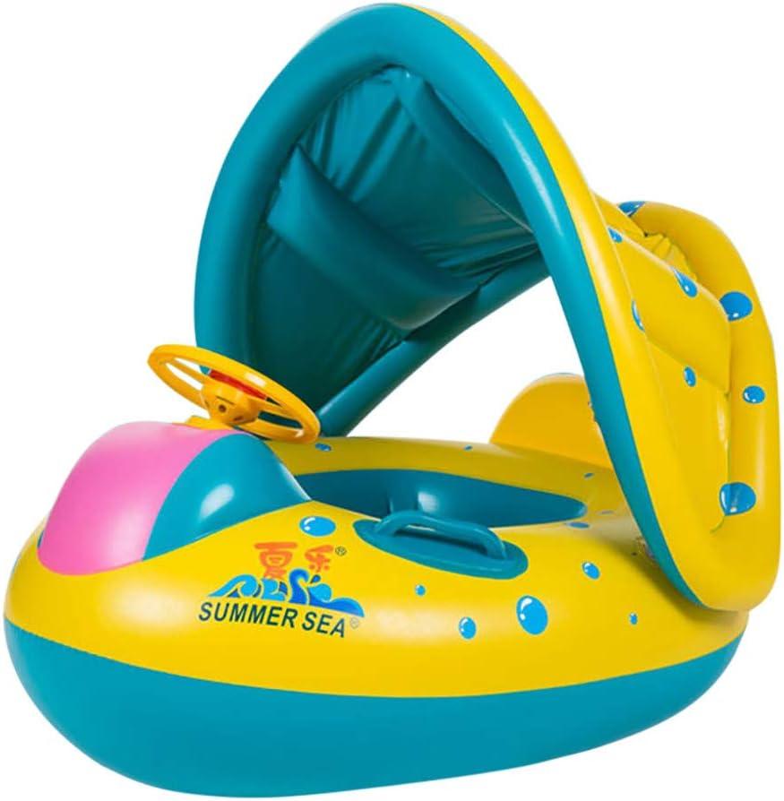 レンコス(Lemcos)子供 ベビー 幼児用 腕輪 補助 座付き 足入れ式 水遊び プール 海用 ベビー・幼児用 ベビーフロート 足入れ式 屋根付き 子供用浮き輪 水泳補助具 ハンドル付き