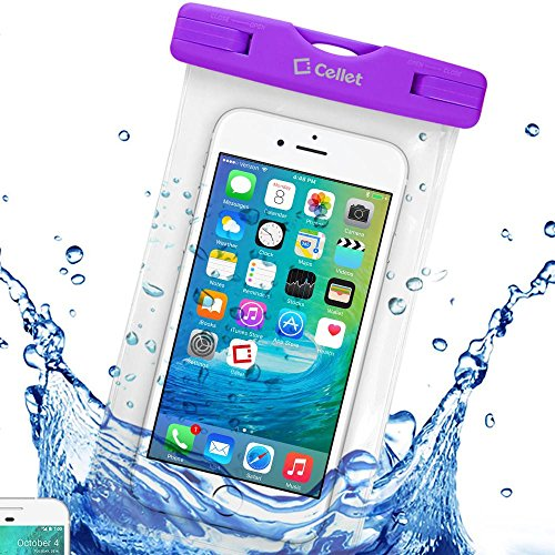 Waterproof 7 Inch Purple Beach or Pool Case with Lanyard fits Google Pixel 3A (XL Version ONLY)