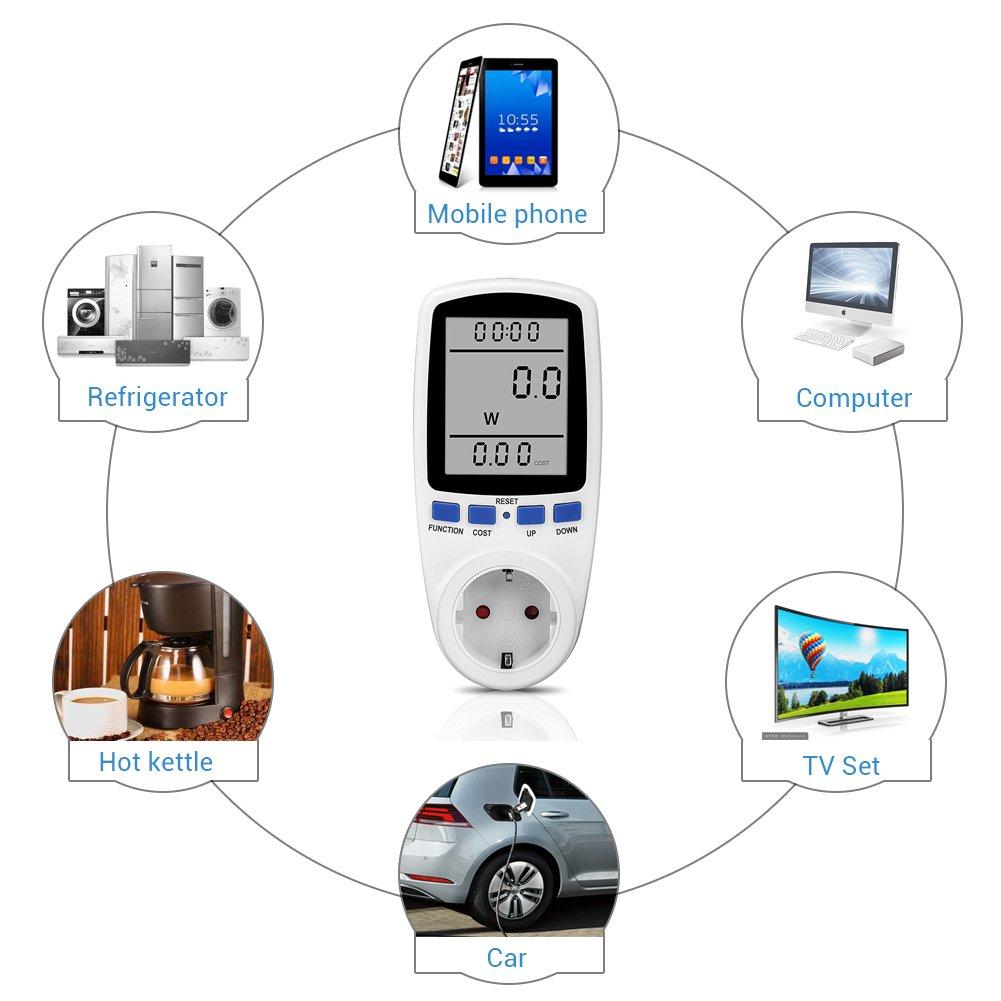 3680 W analyseur d/électricit/é avec Protection Contre Les Surcharges Surenhap Compteur d/électricit/é Prise d/énergie M/ètre d/énergie Compteur d/énergie /électrique avec Grand /Écran LCD