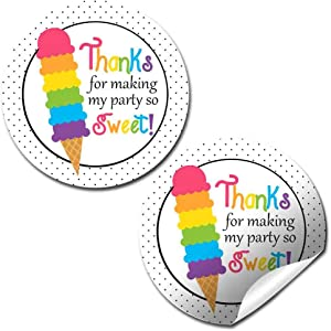 Rainbow Ice Cream Cone Birthday Party Thank You Sticker Labels, 40 2