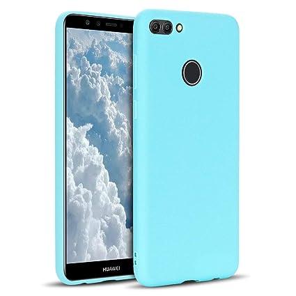 MOSORIS Funda Huawei Y9 2018, Azul Carcasa de Mate Superficie [ Anti-Huella Dactilar ], Suave TPU Silicona Tapa Ultra Delgado Protectora Case ...