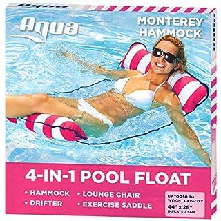 Aqua 4-in-1 Monterey Hammock Inflatable Pool Float, Multi-Purpose Pool Hammock (Saddle, Lounge Chair, Hammock, Drifter) Pool Chair, Portable Water Hammock, Pink/White Stripe