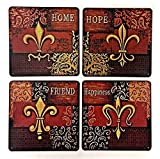 Bellaa 21611 Tin Plaques & Signs Inspirational Home Décor Fleur De Lis Happiness Home Hope Friend