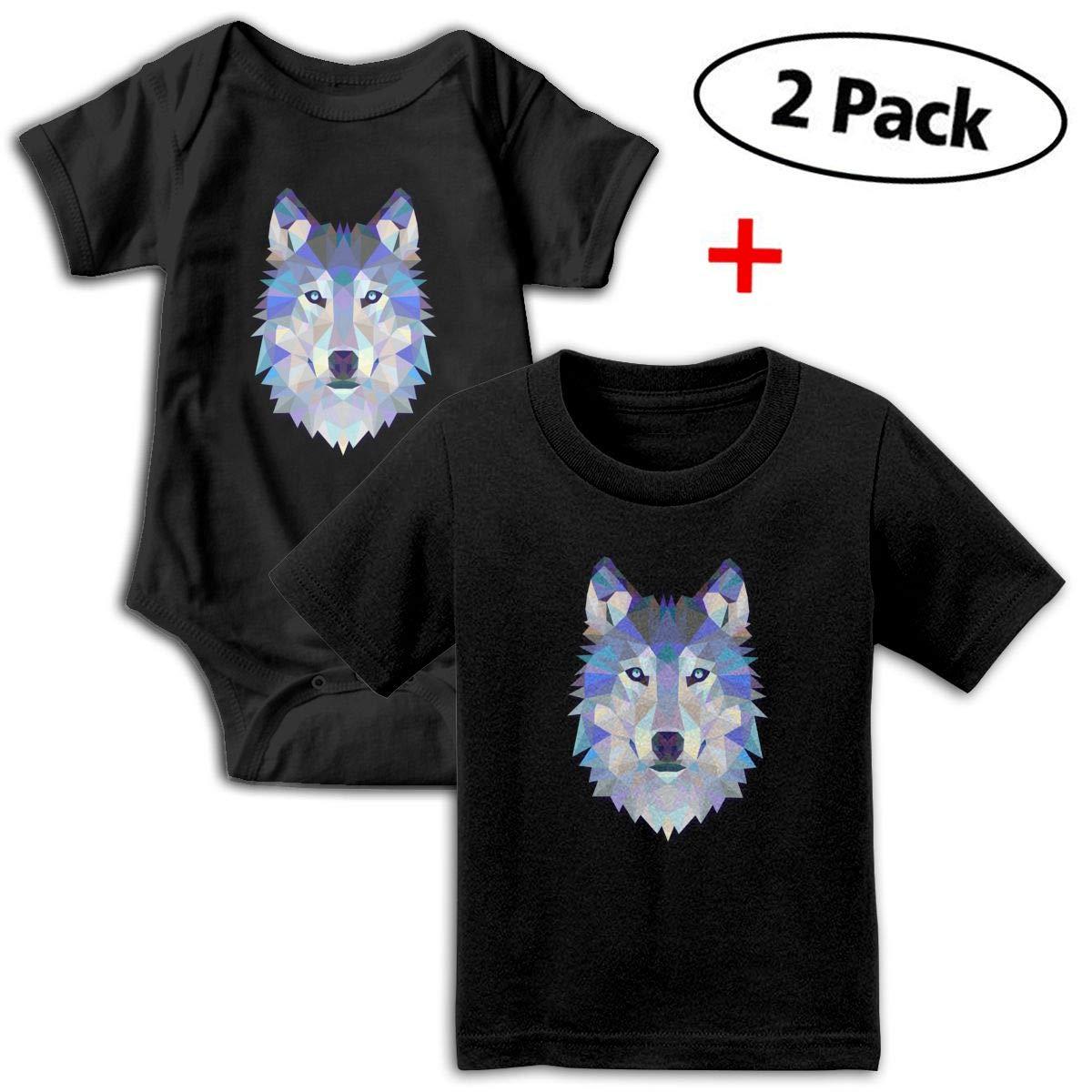 Wild Wolf Unisex Toddler Baby 2-Piece Short-Sleeve Bodysuit Baby T-Shirt Set
