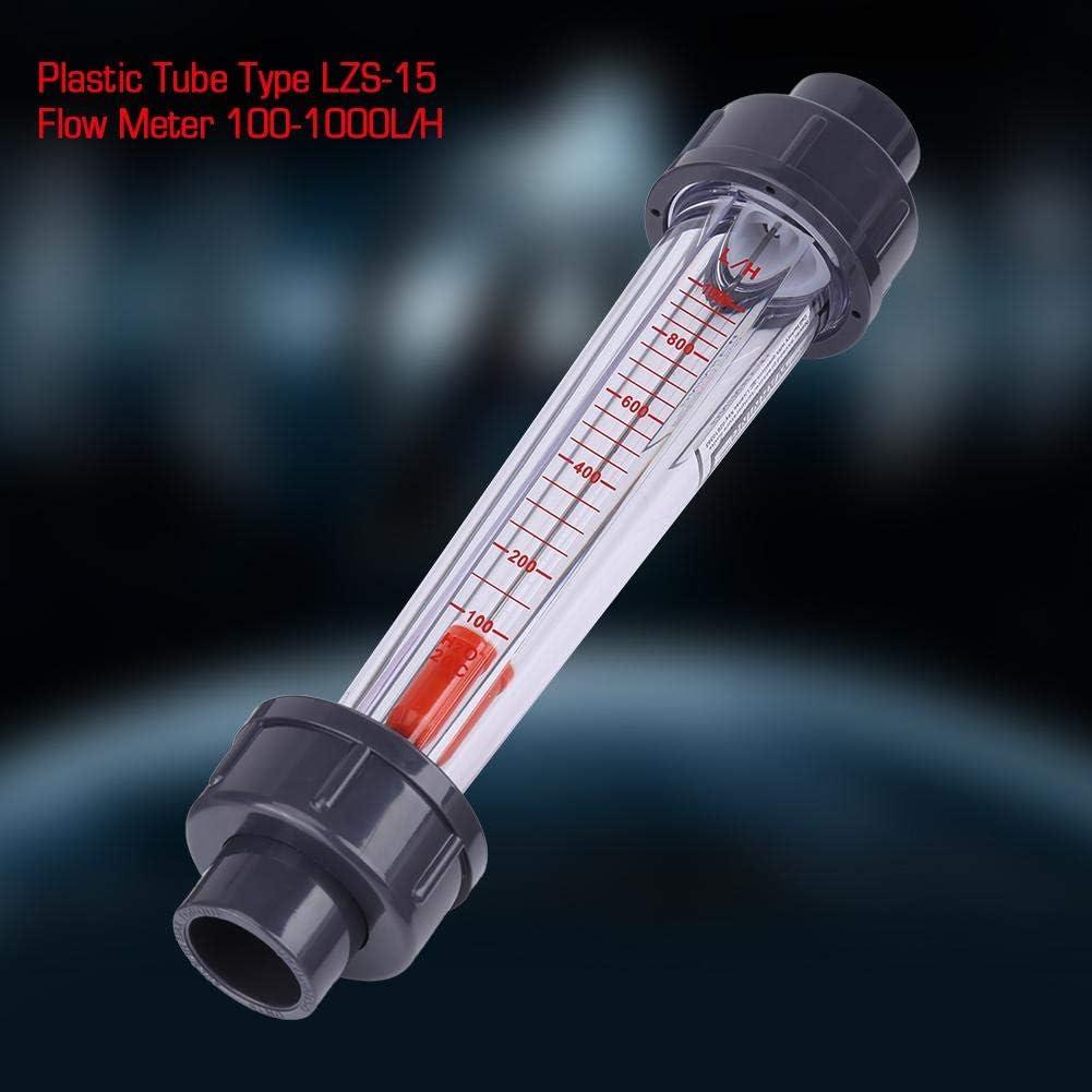 Ymiko Flowmeter Water Flow Meter Plastic Tube Type 100-1000L//H Water Flow Meter Flowmeter LZS-15