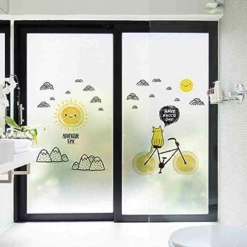 Sala de Dibujos Animados para Niños Autoadhesiva Vidrio Esmerilado Baño Sala de Estar Puerta Corredera Anti-UV Etiqueta Adhesiva de Protección de Privacidad-02 Sol B2: Amazon.es: Hogar