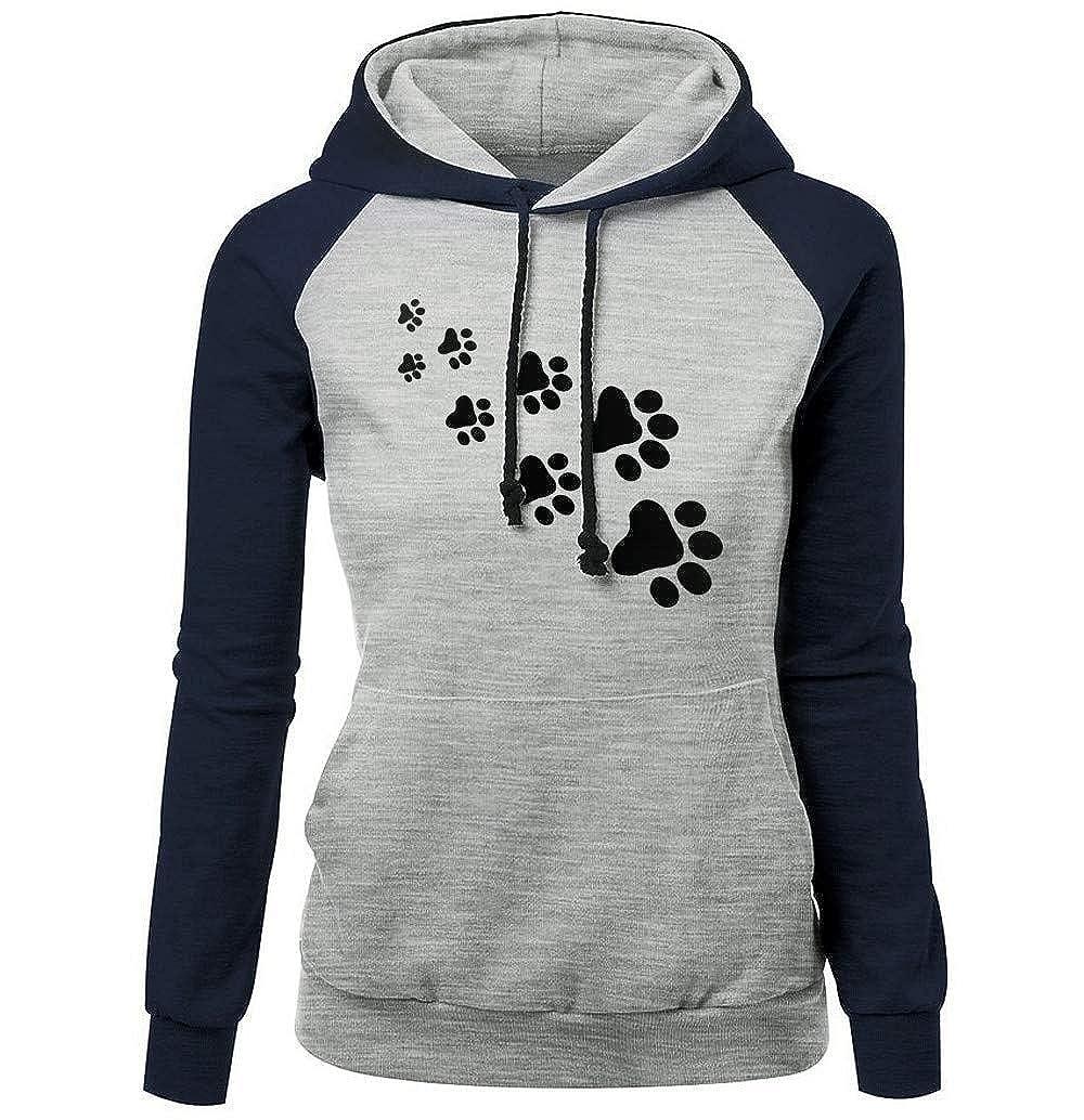 iHENGH Sweatshirt Damen, Women Herbst Mode Plus GrößE Langä Rmeldruck Pocket Hooded Neck Bluse Tops Clearance Sale iHENGH Hemd Nr.1