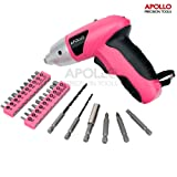 Apollo Pink 4.8V Electric Cordless Screwdriver with 600 mAh NiCad Battery & 26 Piece Screwdriver and Wood Drill Bit Assortment
