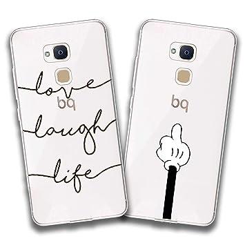 2 X Funda BQ Aquaris V,Love + Gestos Especiales Flexible Suave Transparente TPU Gel Silicona Anti-Arañazos Smartphone Cascara Protectora para BQ ...