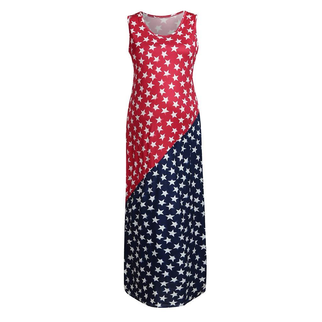 Huifa Women Maternity Sundress SleevelessAmerican Flag 4th of July Pregnancy Dress (Red,XL)