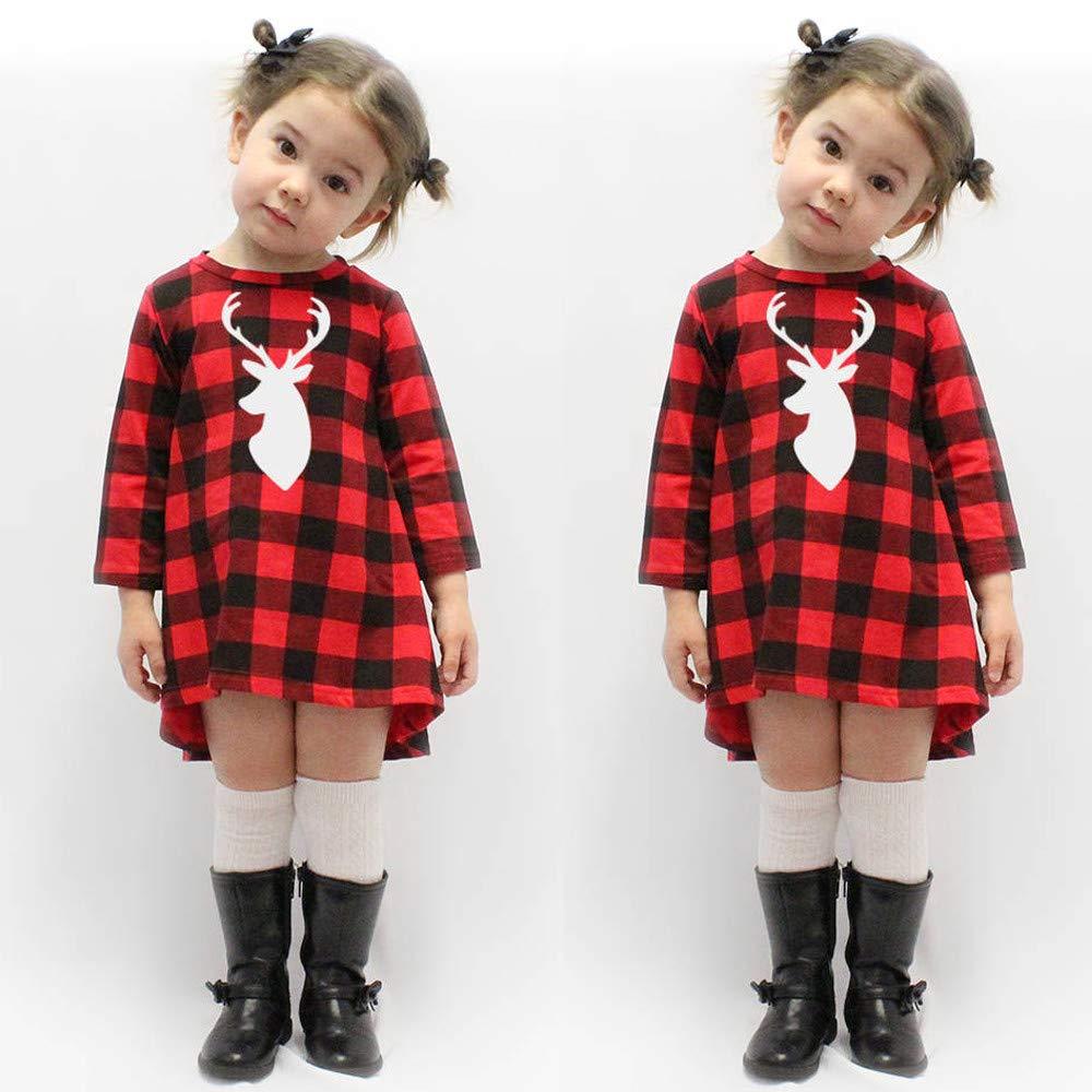 YanHoo Ni/ño peque/ño Ni/ños Ni/ños Beb/é ni/ña Plaid Navidad Ciervos Princesa Vestido Equipo de Ropa Vestido de Tela Escocesa de Navidad de Cuadros de Manga Larga para ni/ños Ropa Linda