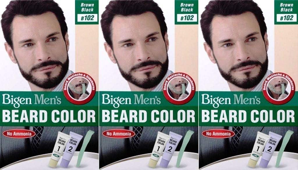 Bigen B102 - Barba para hombre, color marrón y negro (paquete de 3)