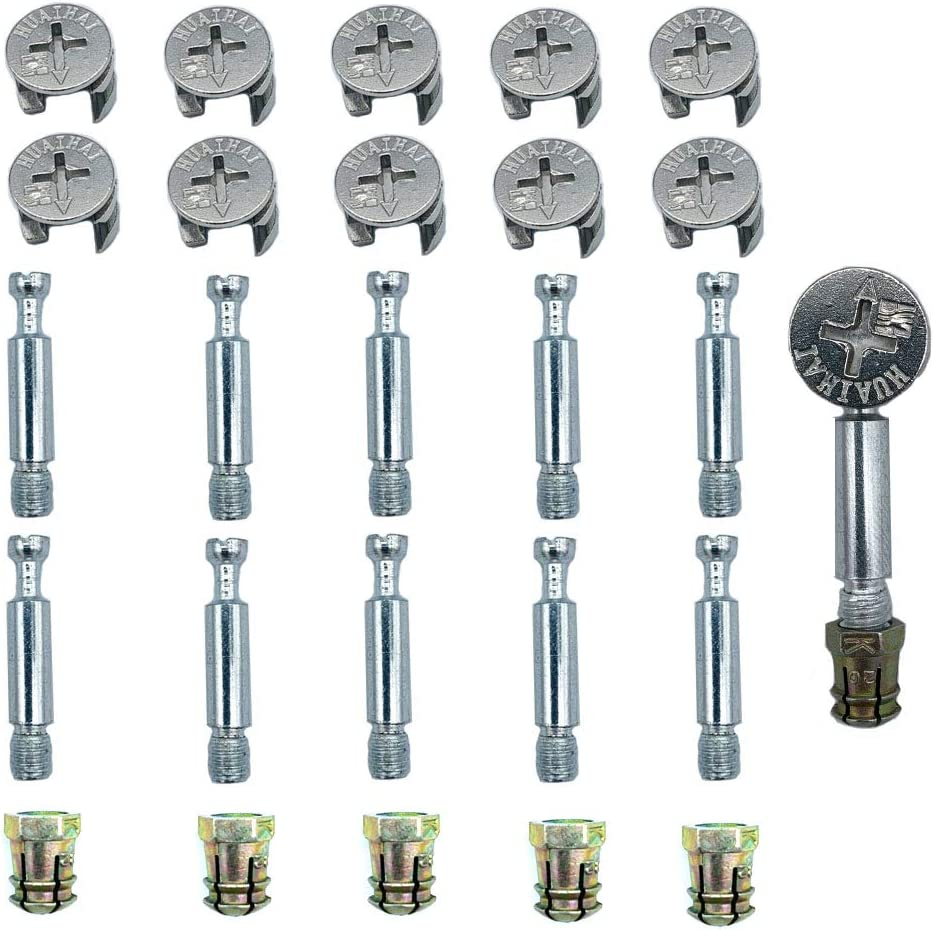 FAFAHOUSE 40 Sets Furniture Connecting Fixing Screw Locking Eccentric Wheel Cam Bolt Nut Fitting for Cabinet Chair Wardrobe