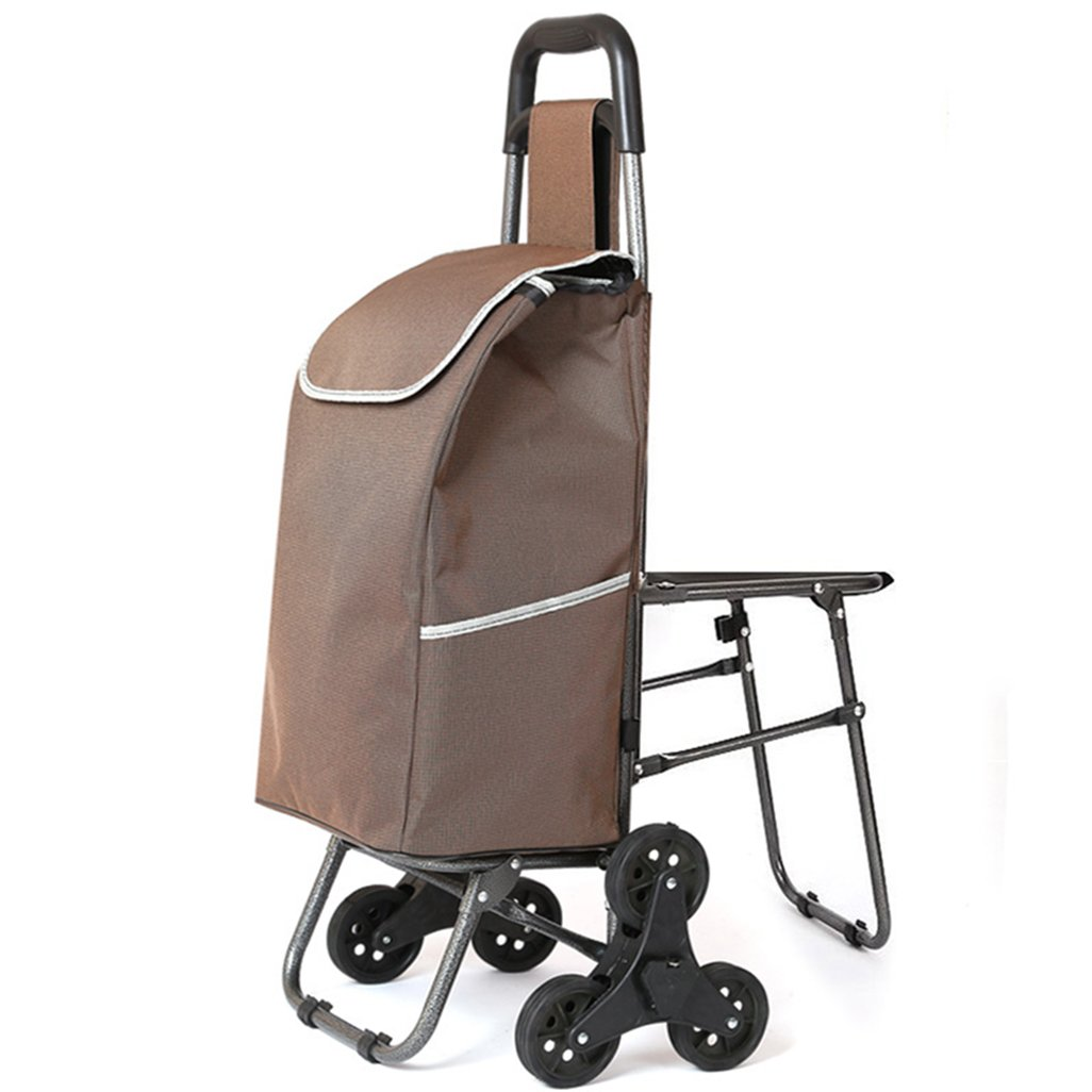 IAIZI 椅子、クライミングショッピングカート、昔ながらのショッピングカート、小型カート、トロリー、折り畳み式、手書きカート、ポータブル防水ショッピングバッグ B07K3X2Q55