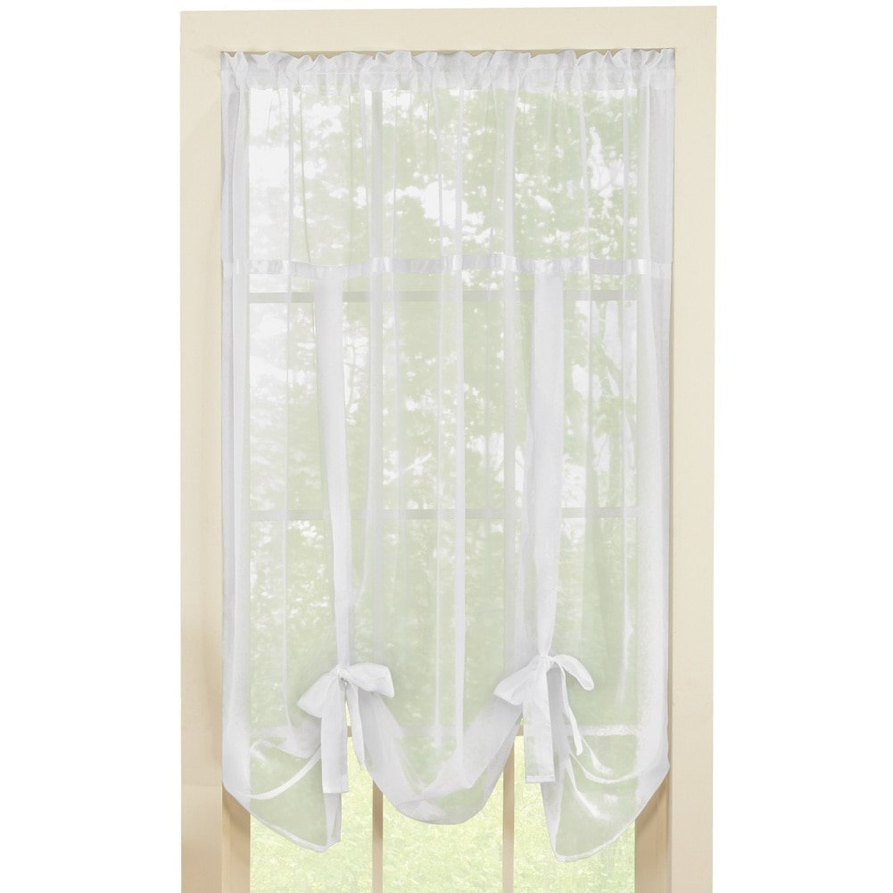 """Collections Etc Solid Sheer 58""""x64"""" Rod Pocket Tie Up Shade Window Curtain, White"""
