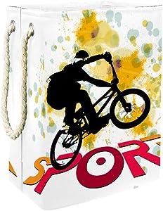DJROW Decorative Laundry Hamper BMX Biker Large Storage Bin Storage Basket Clothes Laundry Hamper Toy Storage Bin