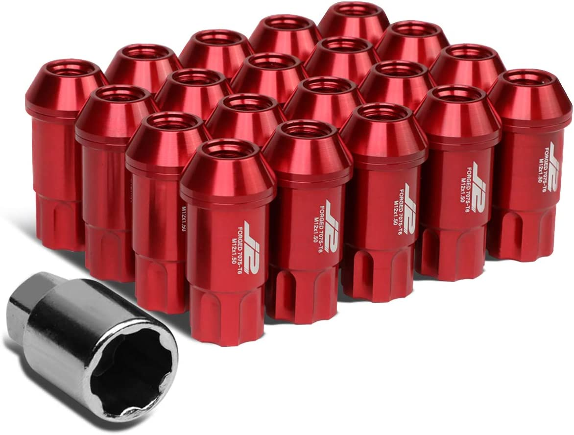 J2 Engineering 7075 Replacement forged Aluminum M12X1.5 20Pcs 50mm Long Open End Lug Nut Set w/Turner (Red)